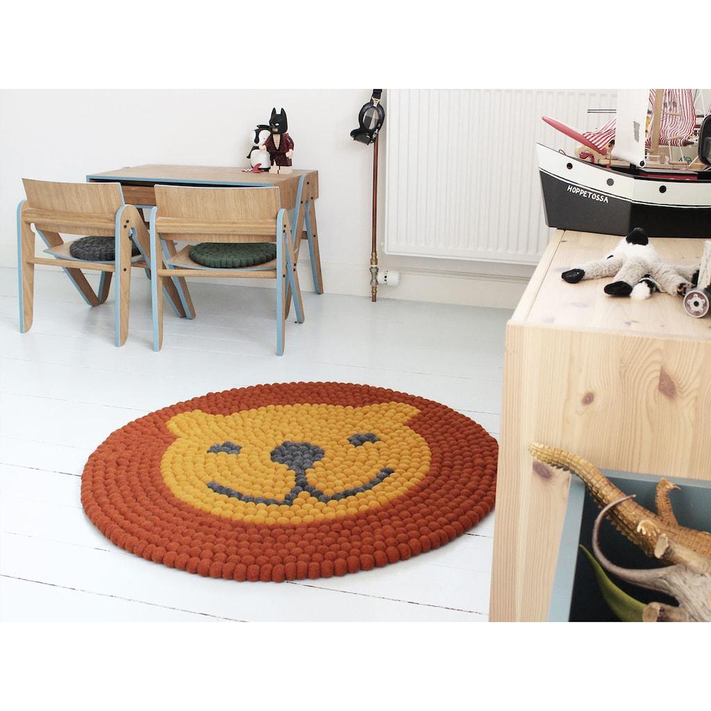 Wooldot Kinderteppich »Löwe«, rund, 23 mm Höhe, Filzkugelteppich, 100 % Wolle, Handarbeit