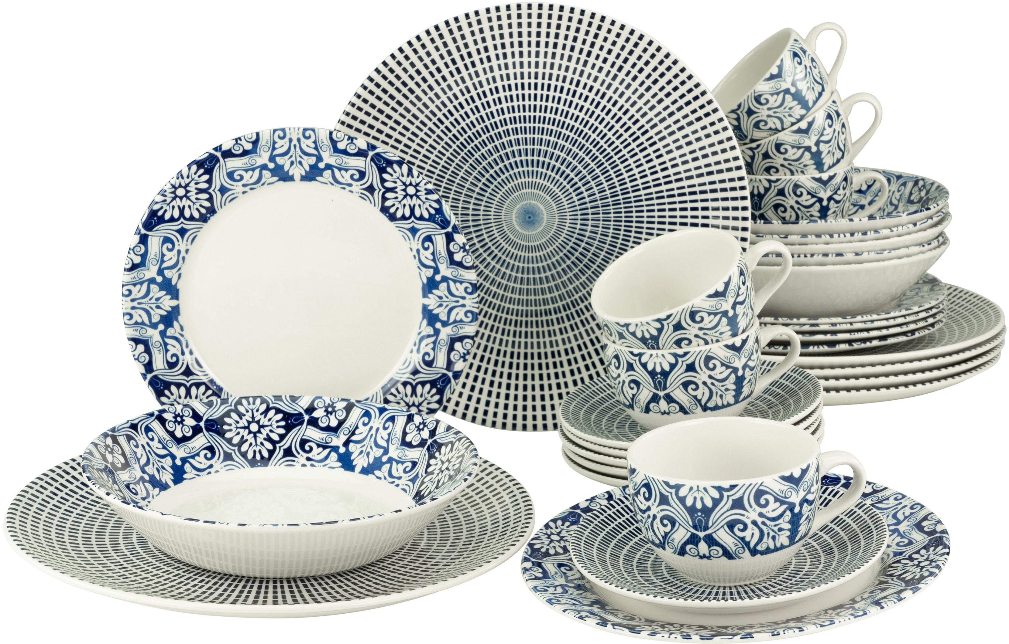 CreaTable Kombiservice Marrakesch 2, (Set, 30 tlg.), orientalisches Dekor blau Geschirr-Sets Geschirr, Porzellan Tischaccessoires Haushaltswaren