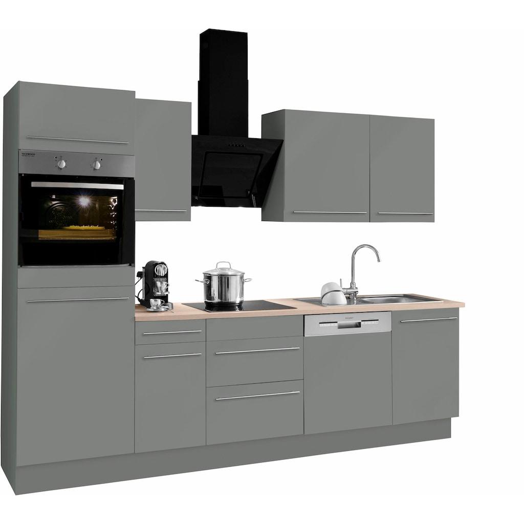 OPTIFIT Küchenzeile »Bern«, mit E-Geräten, Breite 270 cm, mit höhenverstellbaren Füßen, gedämpfte Türen und Schubkästen, Metallgriffe