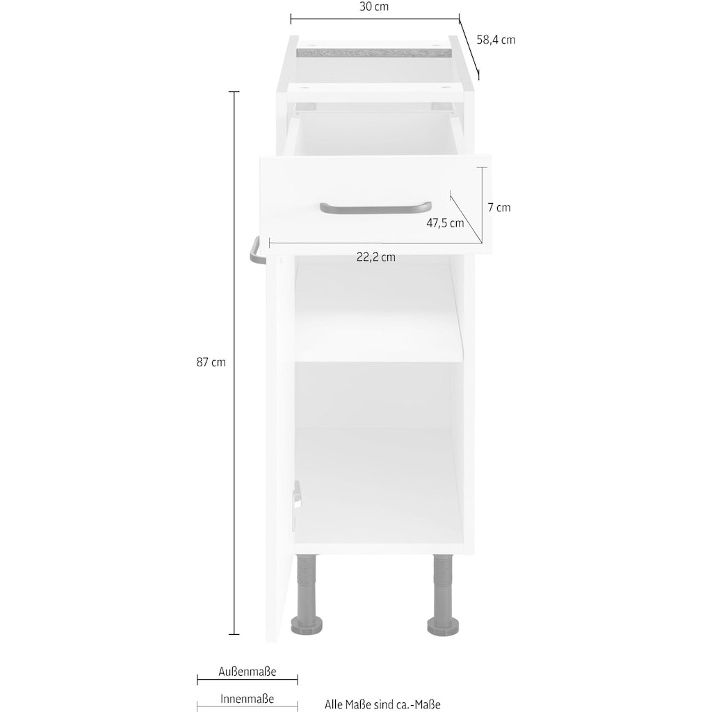 OPTIFIT Unterschrank »Elga«, mit Soft-Close-Funktion, Vollauszug, höhenverstellbaren Füßen und Metallgriffen, Breite 30 cm