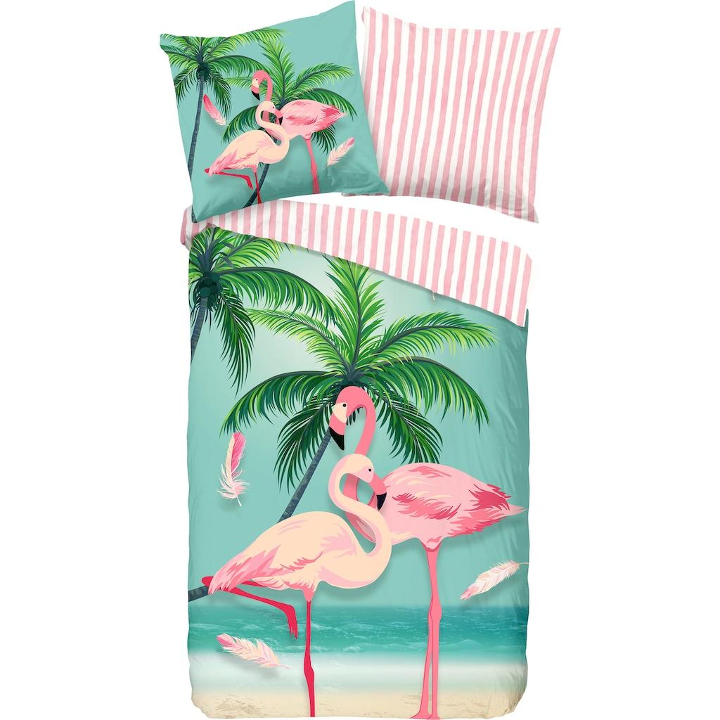 good morning Kinderbettwäsche »Bonaire«, mit Flamingos
