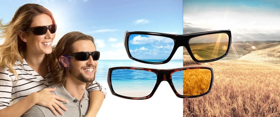 Polaryte HD Sonnenbrille (Set 2er Set) Damenmode/Schmuck & Accessoires/Accessoires/Sonnenbrillen/Eckige Sonnenbrille