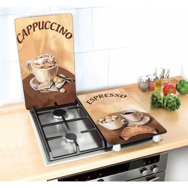 """WENKO Herd-Abdeckplatte """"Kaffee"""", Glas, (Set, 2-tlg.)"""