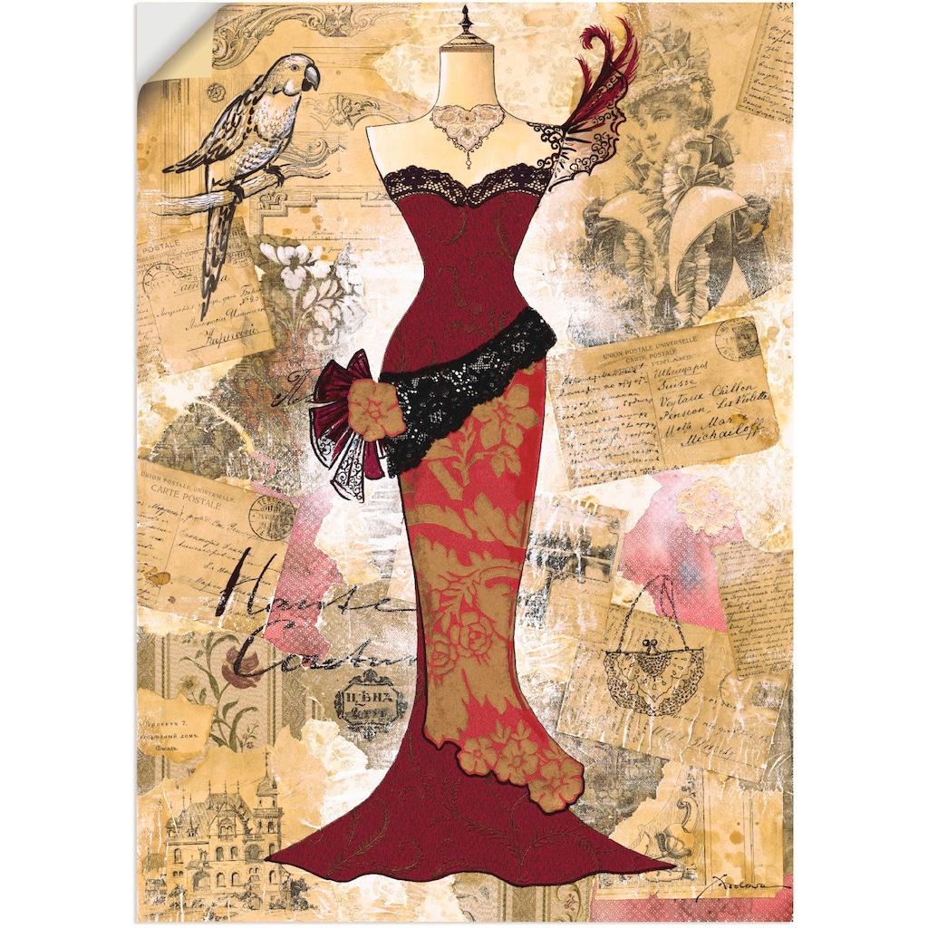 Artland Wandbild »Antikes Kleid - Collage«, Mode, (1 St.), in vielen Größen & Produktarten - Alubild / Outdoorbild für den Außenbereich, Leinwandbild, Poster, Wandaufkleber / Wandtattoo auch für Badezimmer geeignet