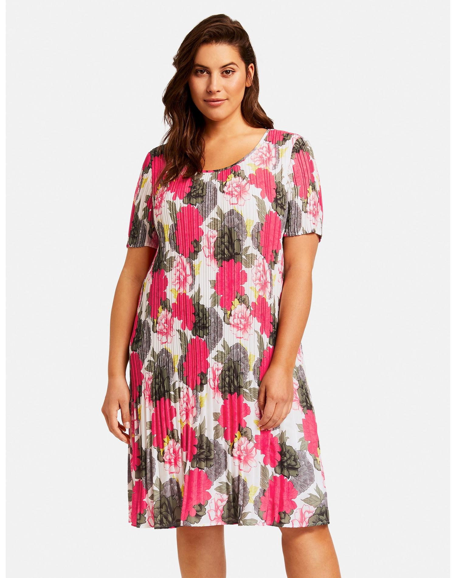 samoon -  Kleid Langarm kurz Plisséekleid mit Blumen-Print