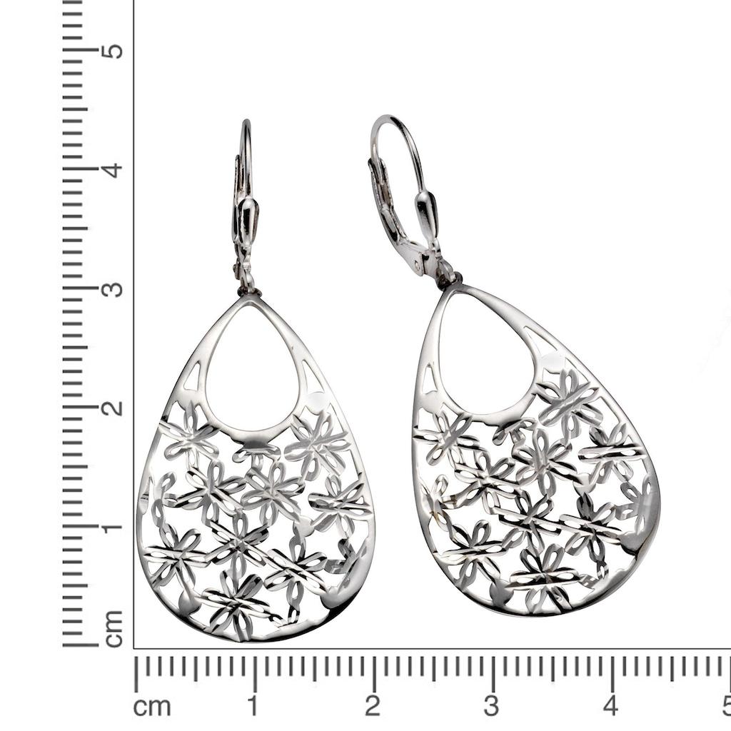 Vivance Paar Ohrhänger »925/- Sterling Silber rhodiniert«, Blütenmuster
