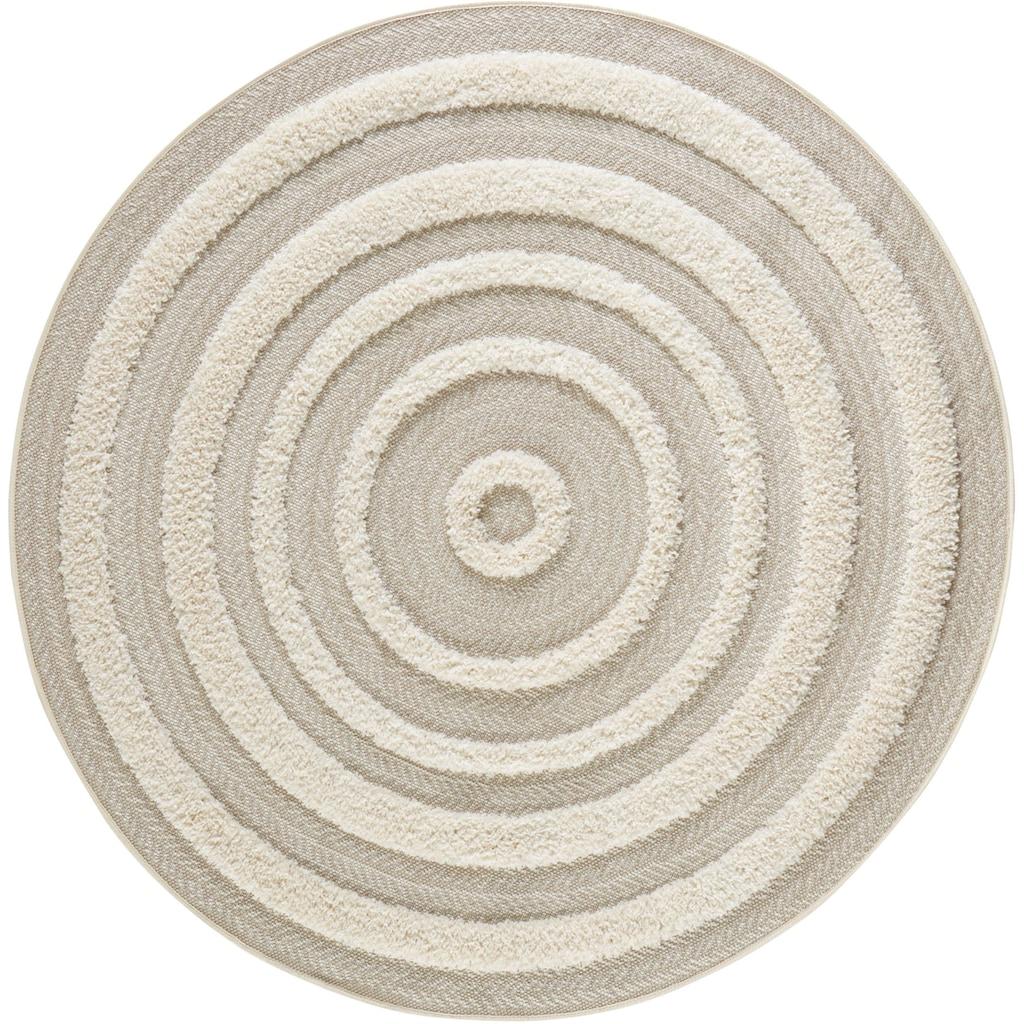 MINT RUGS Teppich »Nador«, rund, 22 mm Höhe, In- und Outdoor geeignet, Sisal-Optik, Hoch-Tief-Struktur, Für Terasse und Balkon, Wohnzimmer