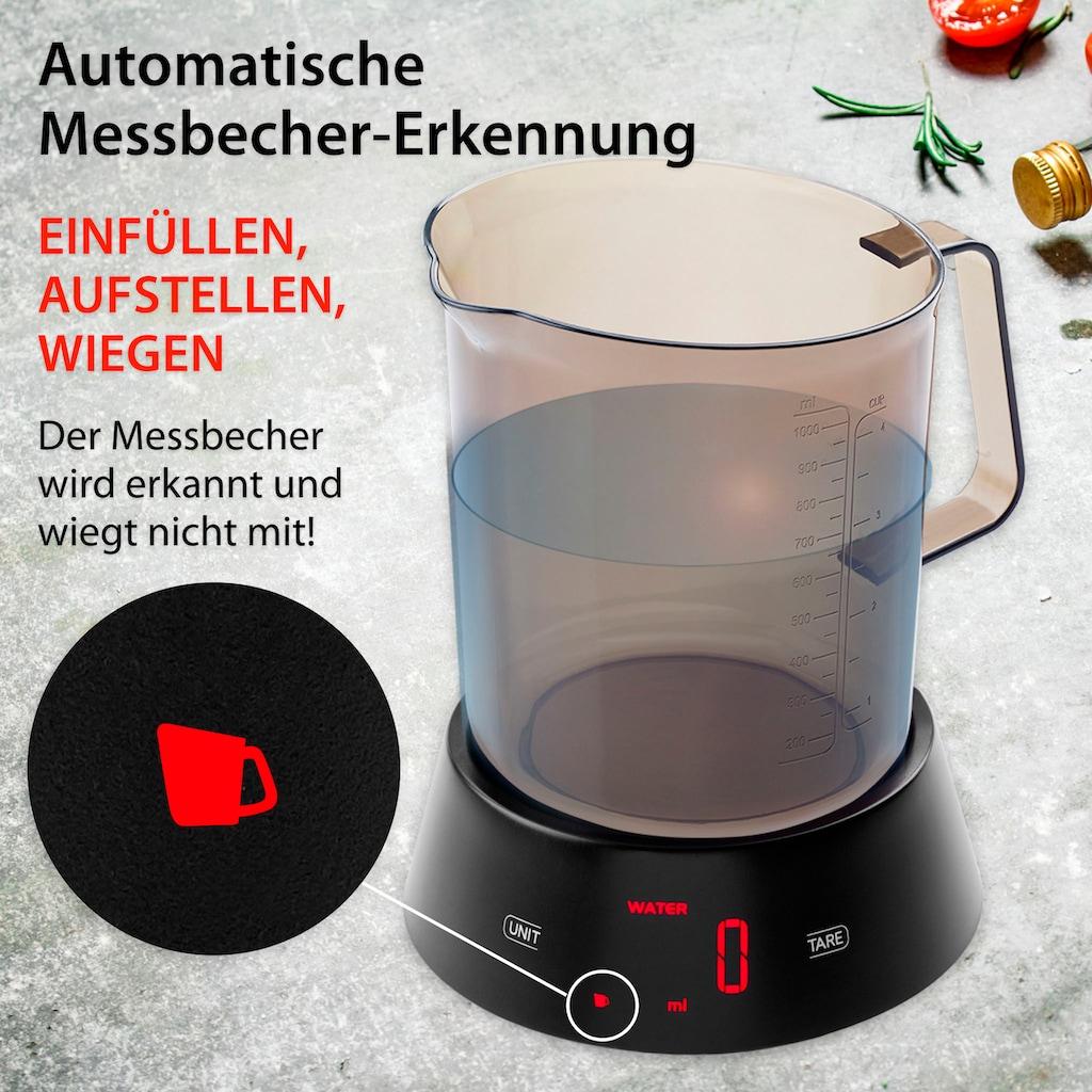 ADE Küchenwaage »KE 1824 Rebecca«, Messbecher-Waage mit abnehmbarem Messbecher mit Griff und 1 L Fassungsvermögen und LED-Display