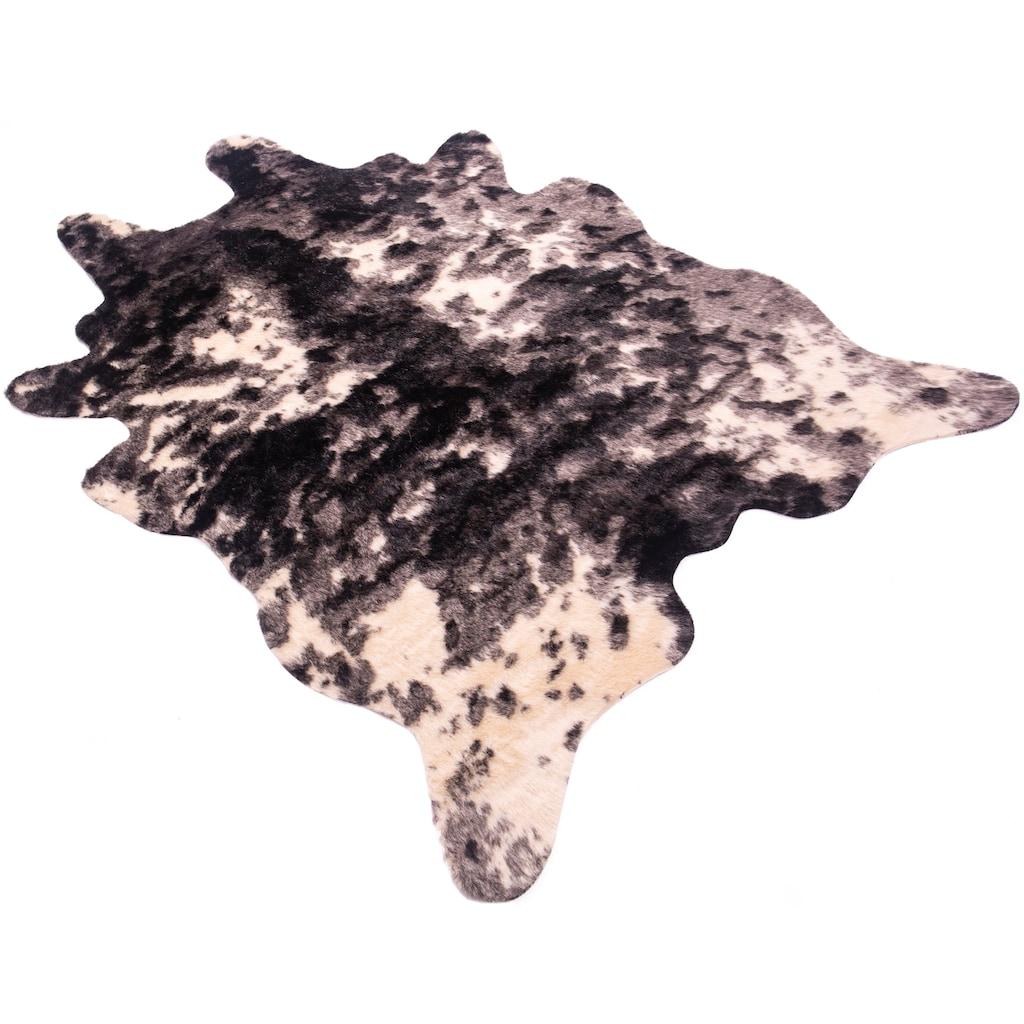 Home affaire Fellteppich »Kuh-Fell«, fellförmig, 20 mm Höhe, Kunstfell, Wohnzimmer
