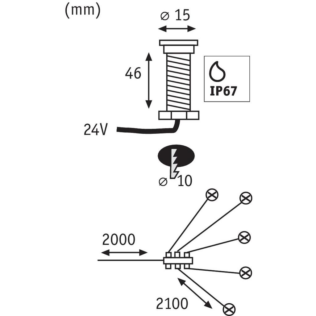 Paulmann LED Einbauleuchte »Outdoor Plug & Shine EBL Starterset MicroPen II«, 6 St., Warmweiß, IP67 3000K Edelstahl