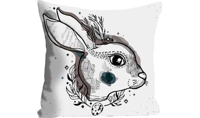 queence Kissenhülle »Mikkel«, (1 St.), mit einem Hasen mit Blättern kaufen