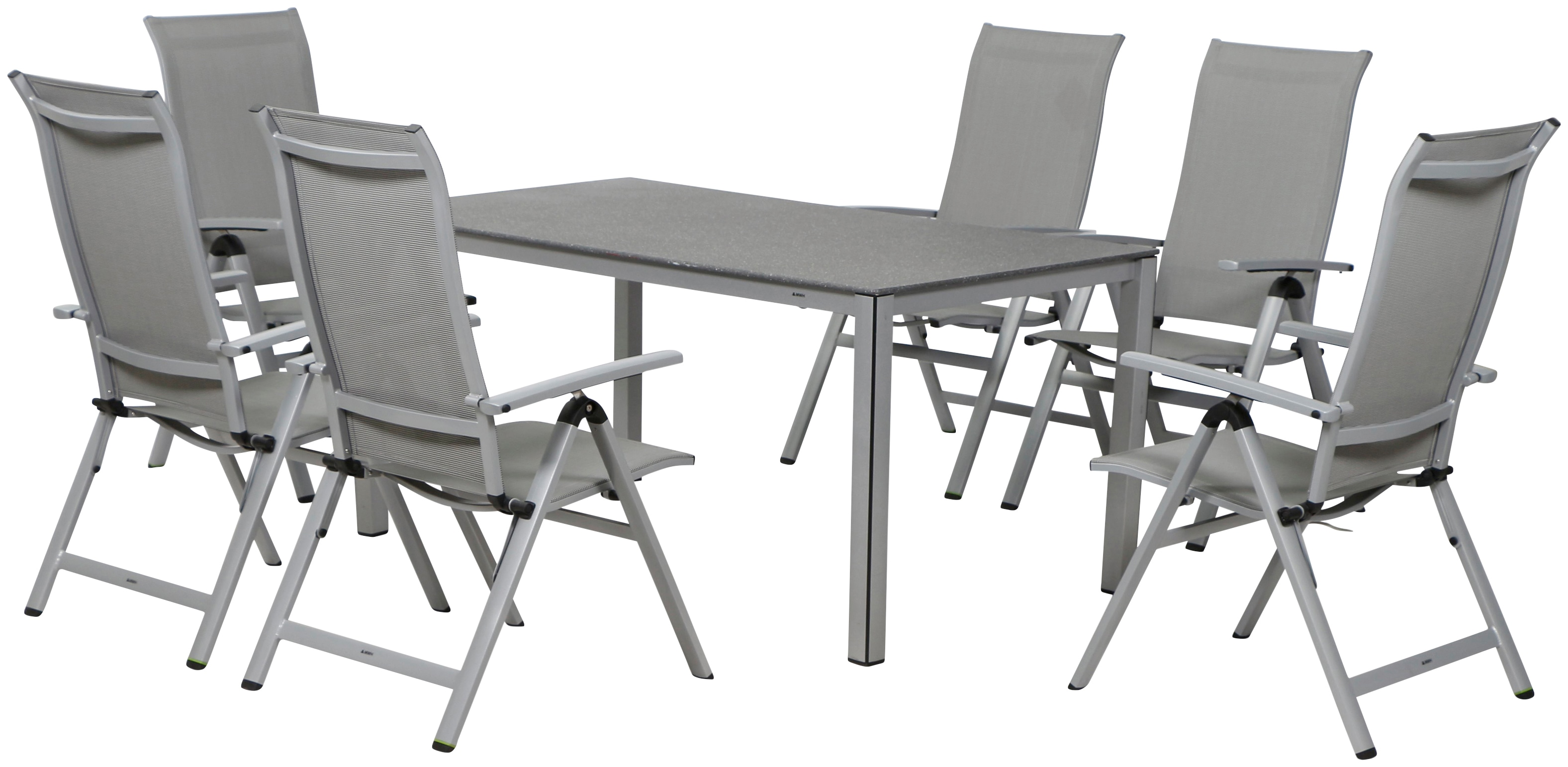 MWH Gartenmöbelset Fabulo 5tlg 4 Sessel Tisch 160x90 cm Aluminium