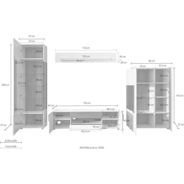 trendteam Wohnwand »Tokyo« (Set, 4-tlg 4-teiliges Set. Den TV-Aufsatz ist separat bestellbar 46475419.)