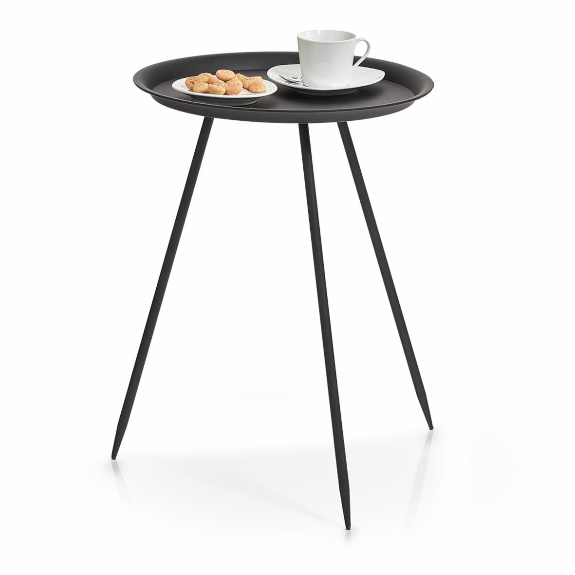 Zeller Present Beistelltisch, rund, Metall weiß Beistelltische Tische Beistelltisch