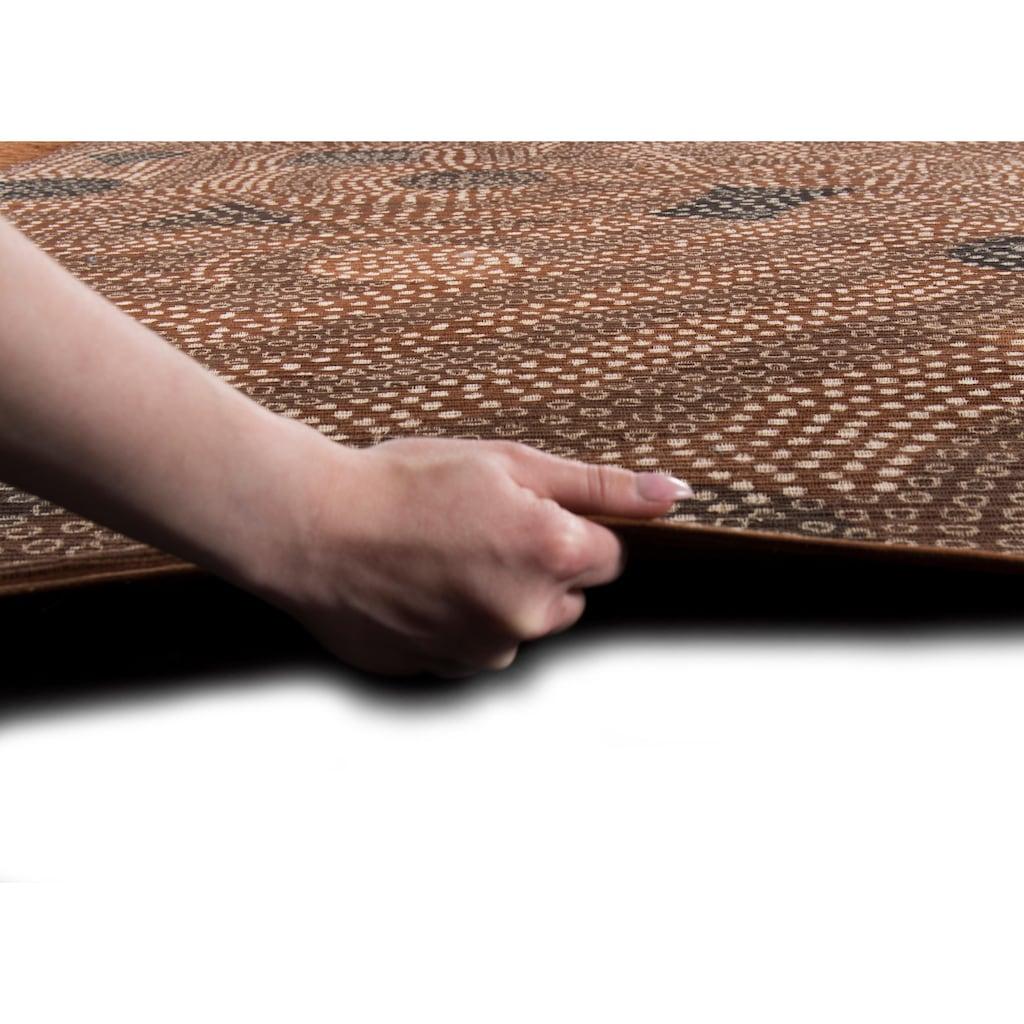 DIE HAUSKUNST Teppich »Dakan«, rechteckig, 4 mm Höhe, Flachgewebe, handgewebt, mit Fransen, Wohnzimmer