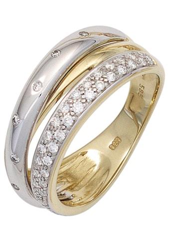 JOBO Diamantring, 585 Gold bicolor mit 41 Diamanten kaufen