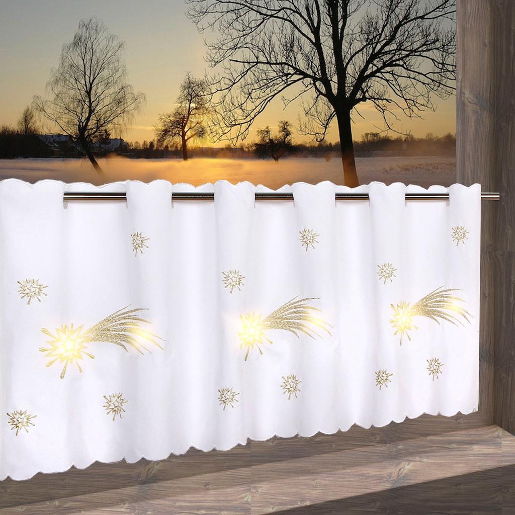 Delindo Lifestyle Scheibengardine »Schweifstern«, mit Stangendurchzug, für die Küche, mit LED-Beleuchtung