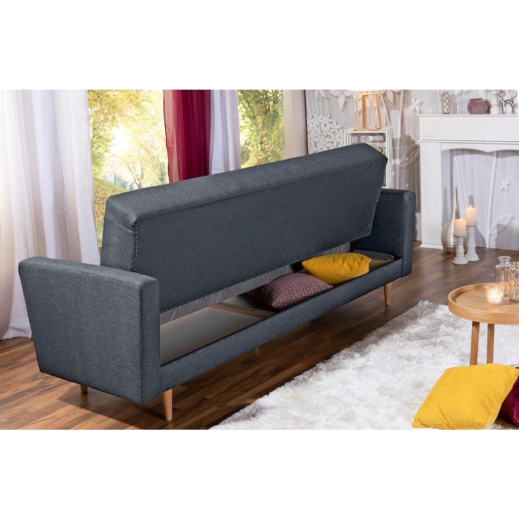 Max Winzer® 3-Sitzer »Jesper«, Schlafsofa mit Knopfheftung im Rücken, inklusive Bettkasten