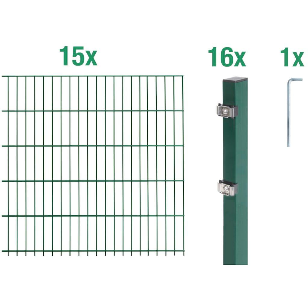 GAH Alberts Doppelstabmattenzaun, 100 cm hoch, 15 Matten für 30 m, 16 Pfosten