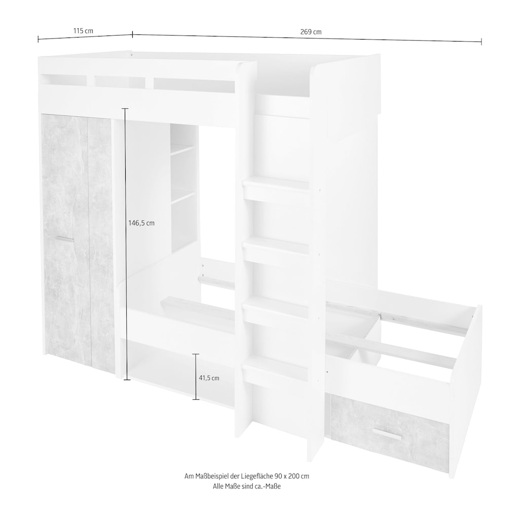 Hochbett, mit 2 Liegeflächen, Kleiderschrank und Regalen
