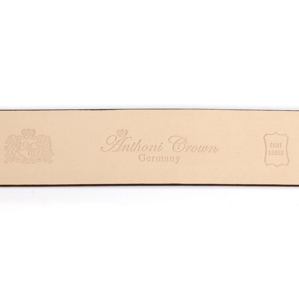 Anthoni Crown Ledergürtel, Automatik Lackledergürtel, Schließe mit Glitzersteinen