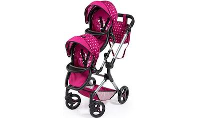 Bayer Puppen-Zwillingsbuggy »Twin Neo, bordeaux«, mit Wickeltasche kaufen