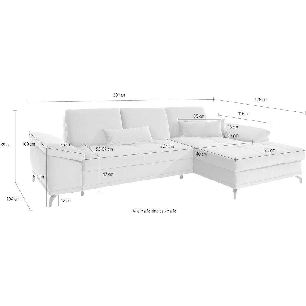 Places of Style Ecksofa »Costello«, incl. Sitztiefenverstellung und Armlehnfunktion, Federkern, wahlweise mit Bettfunktion und Bettkasten, incl. 3 Nierenkissen
