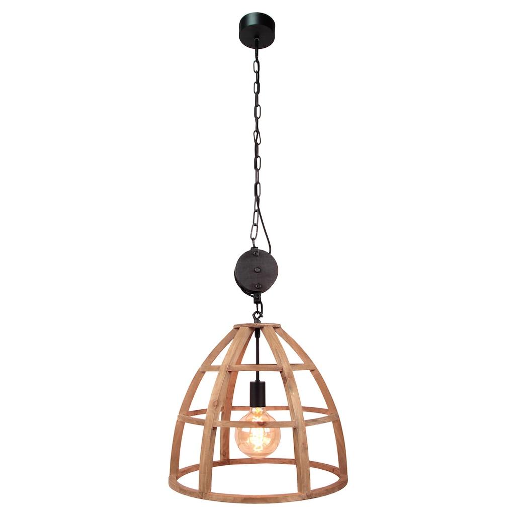 Brilliant Leuchten Matrix Wood Pendelleuchte 47cm antik holz/schwarz korund