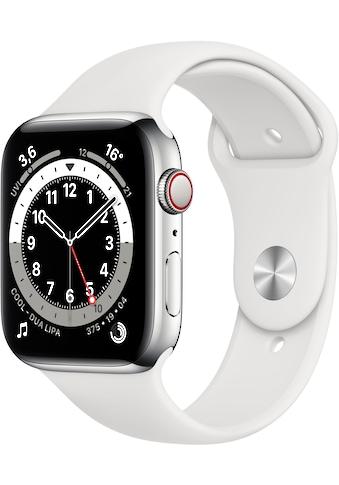 Apple Watch »Series 6 GPS + Cellular, Edelstahlgehäuse mit Sportarmband 44mm«, ( Watch... kaufen