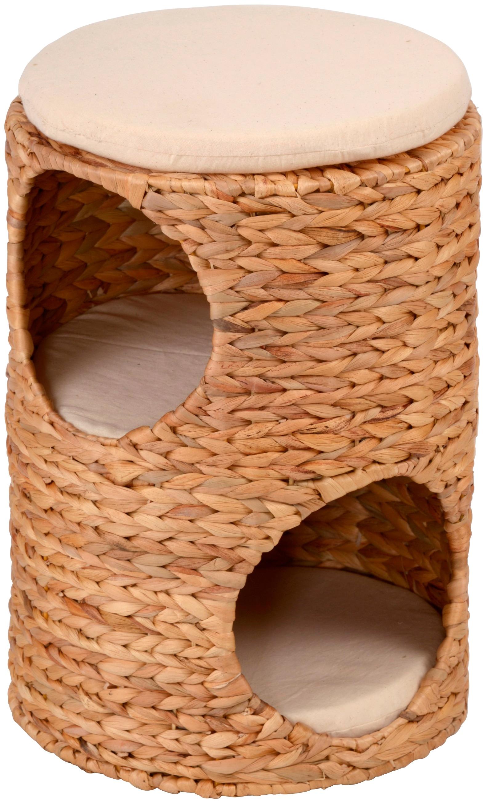 SILVIO design Tierbett Korbturm Wasserhyazinthe, BxLxH: 32x32x47 cm, natur beige Katzenkörbe -kissen Katze Tierbedarf