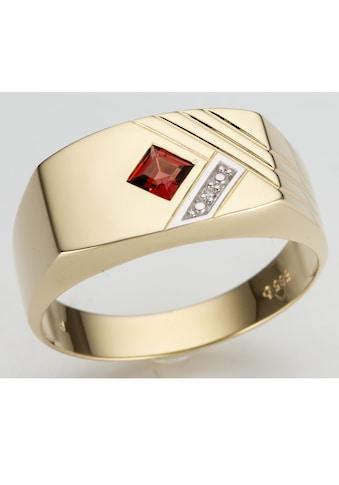 Firetti Diamantring »glanz, bicolor, Diamantschnitte«, mit Granat und Brillant kaufen