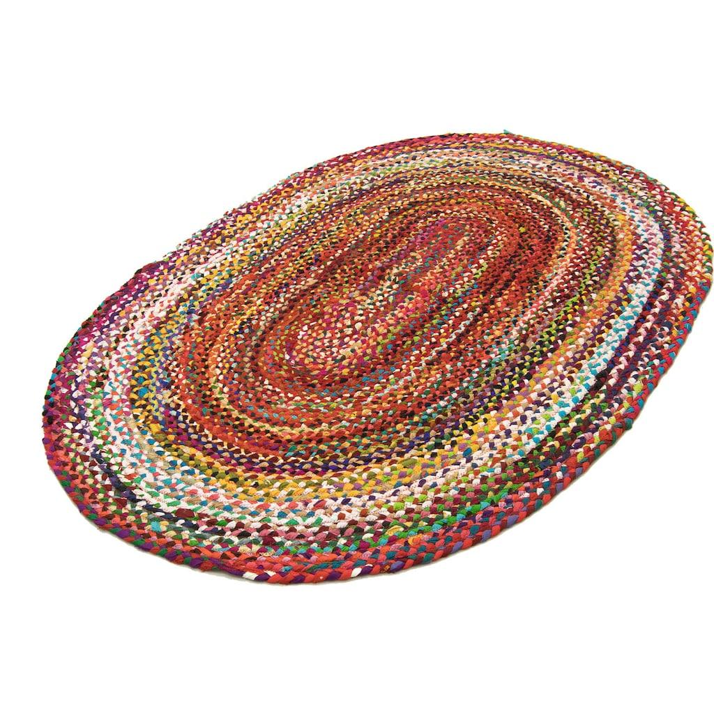 morgenland Wollteppich »Sisalteppich Teppich Indigo Stripy«, oval, 7 mm Höhe