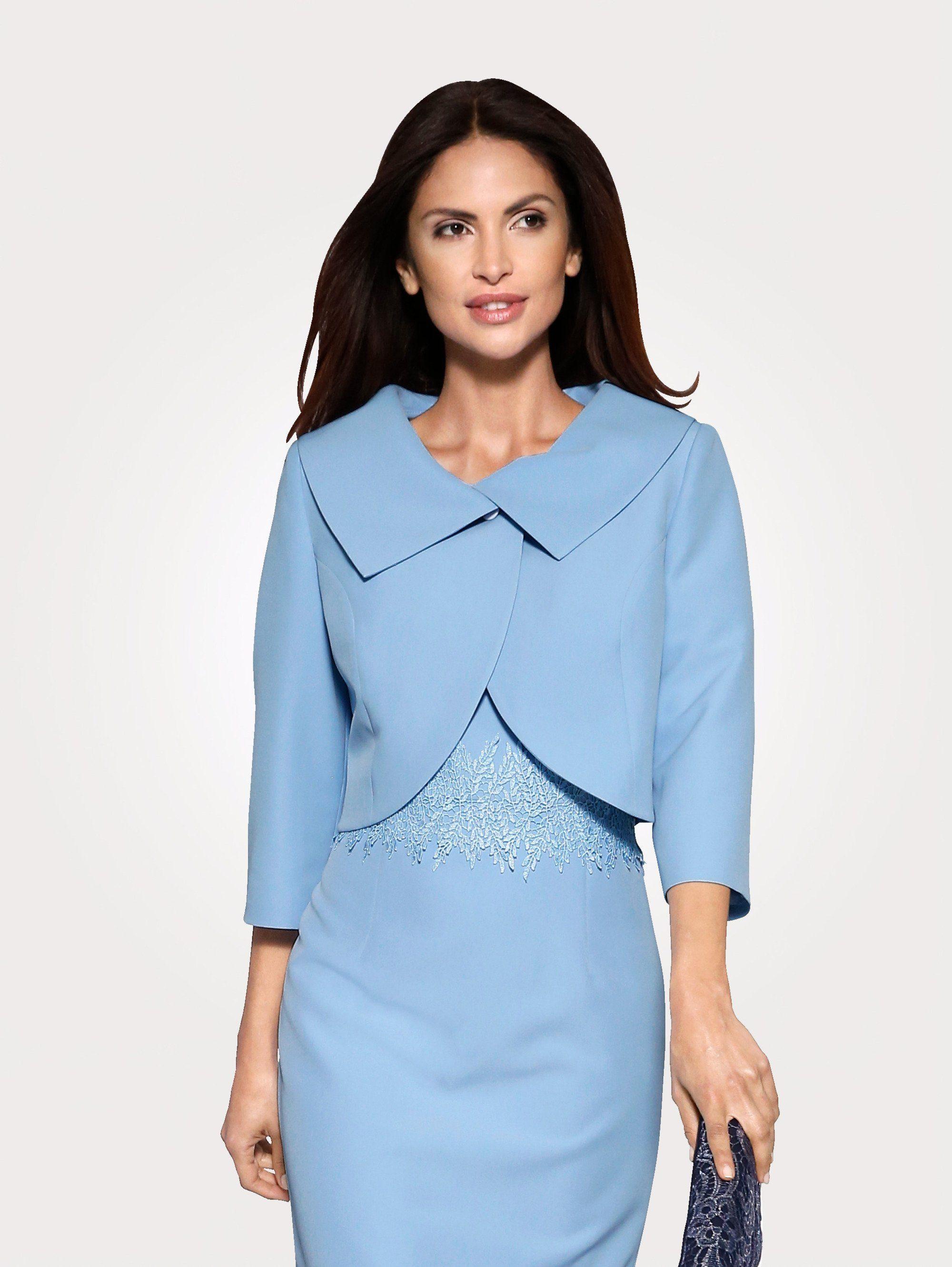 Mona Bolero mit aufwändiger Kragenverarbeitung | Bekleidung > Jacken > Boleros | Blau | Georgette - Polyester - Elasthan | Mona