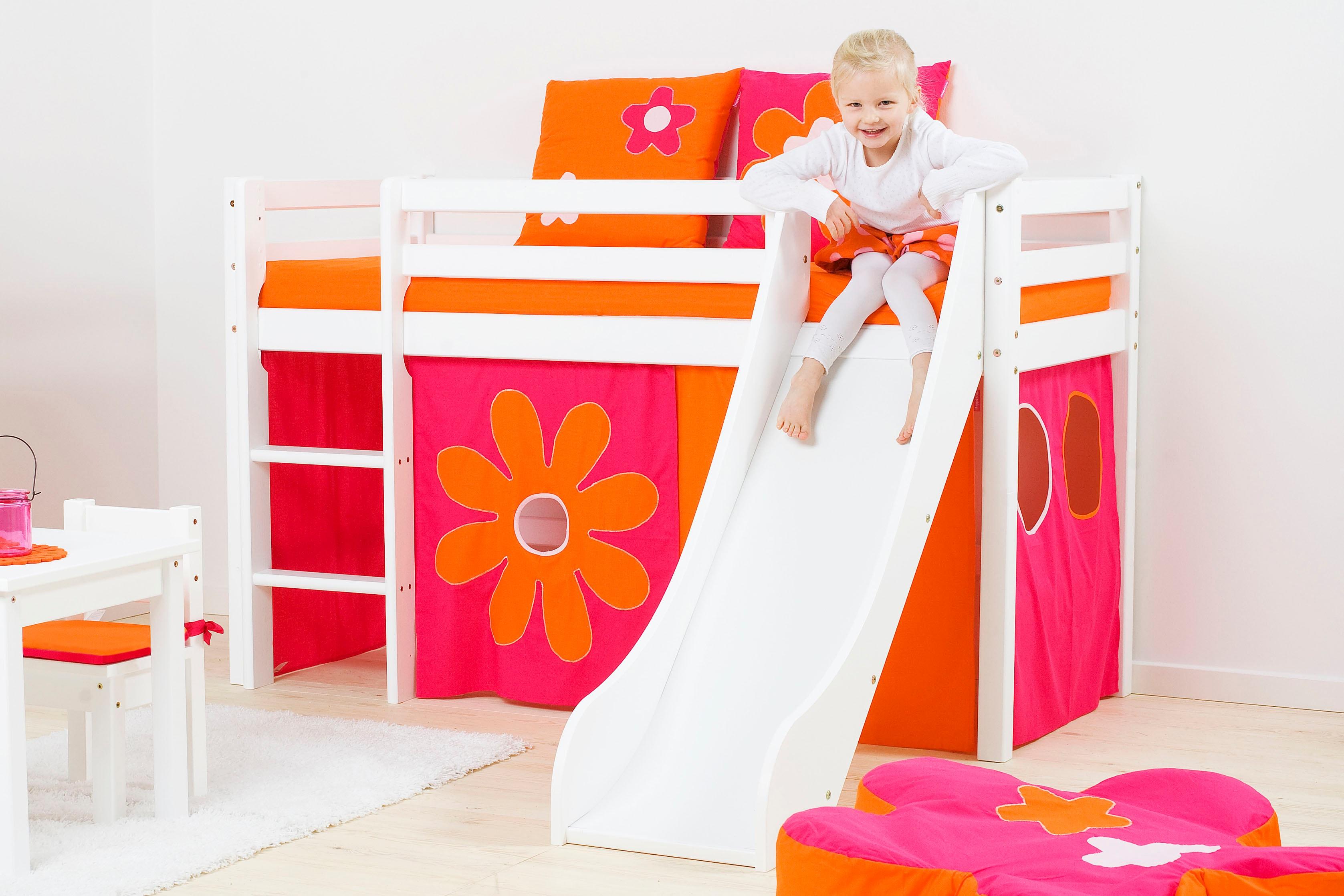 Hoppekids Hochbett, inkl. Rutsche mit Absturzschutzseiten, Matratze und Leiter pink Kinder Hochbett Kinderbetten Kindermöbel