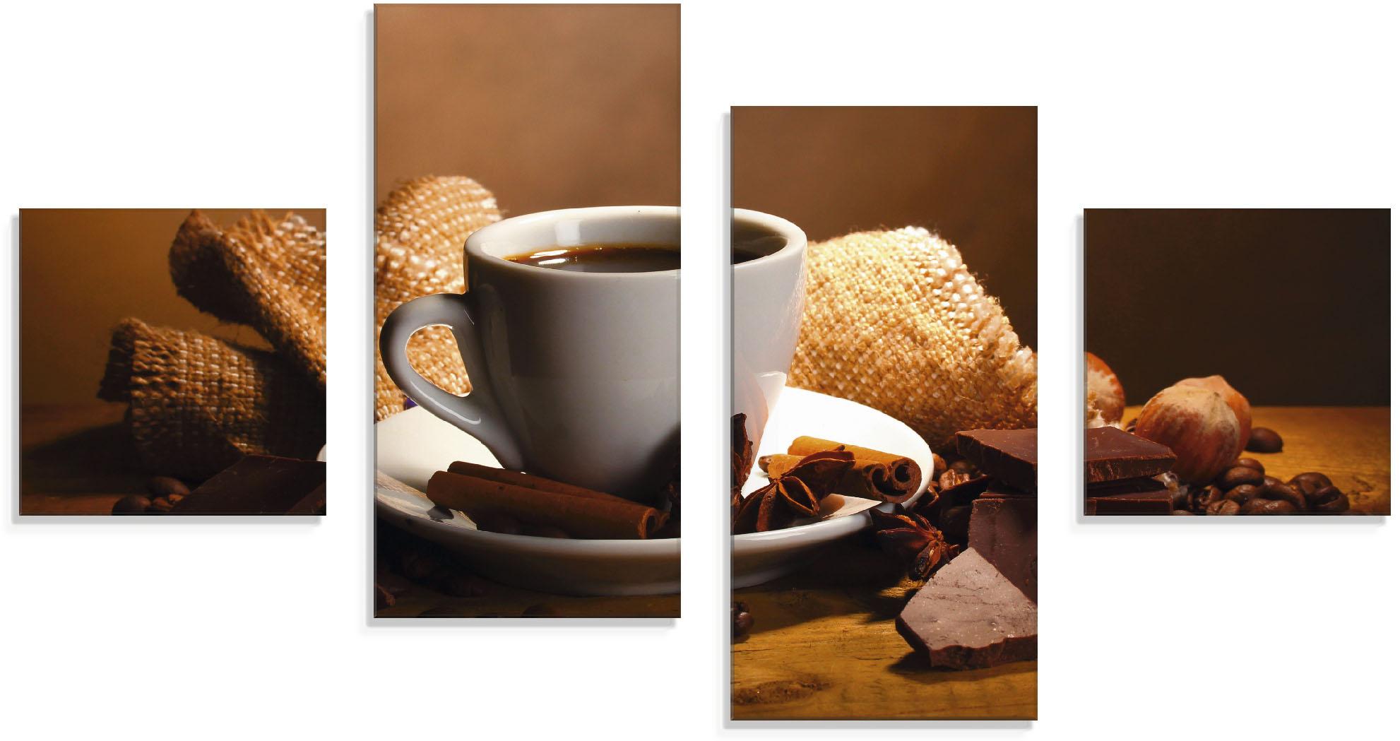 Artland Glasbild Kaffeetasse Zimtstange Nüsse Schokolade, Getränke, (4 St.) braun Glasbilder Bilder Bilderrahmen Wohnaccessoires