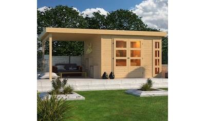 KONIFERA Set: Gartenhaus »Nordsee 6«, BxT: 558x331 cm, mit Anbaudach kaufen