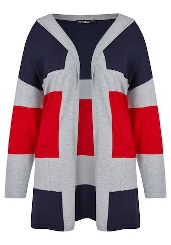 VIA APPIA DUE Trendige Long - Strickjacke mit Streifen - Muster Plus Size kaufen