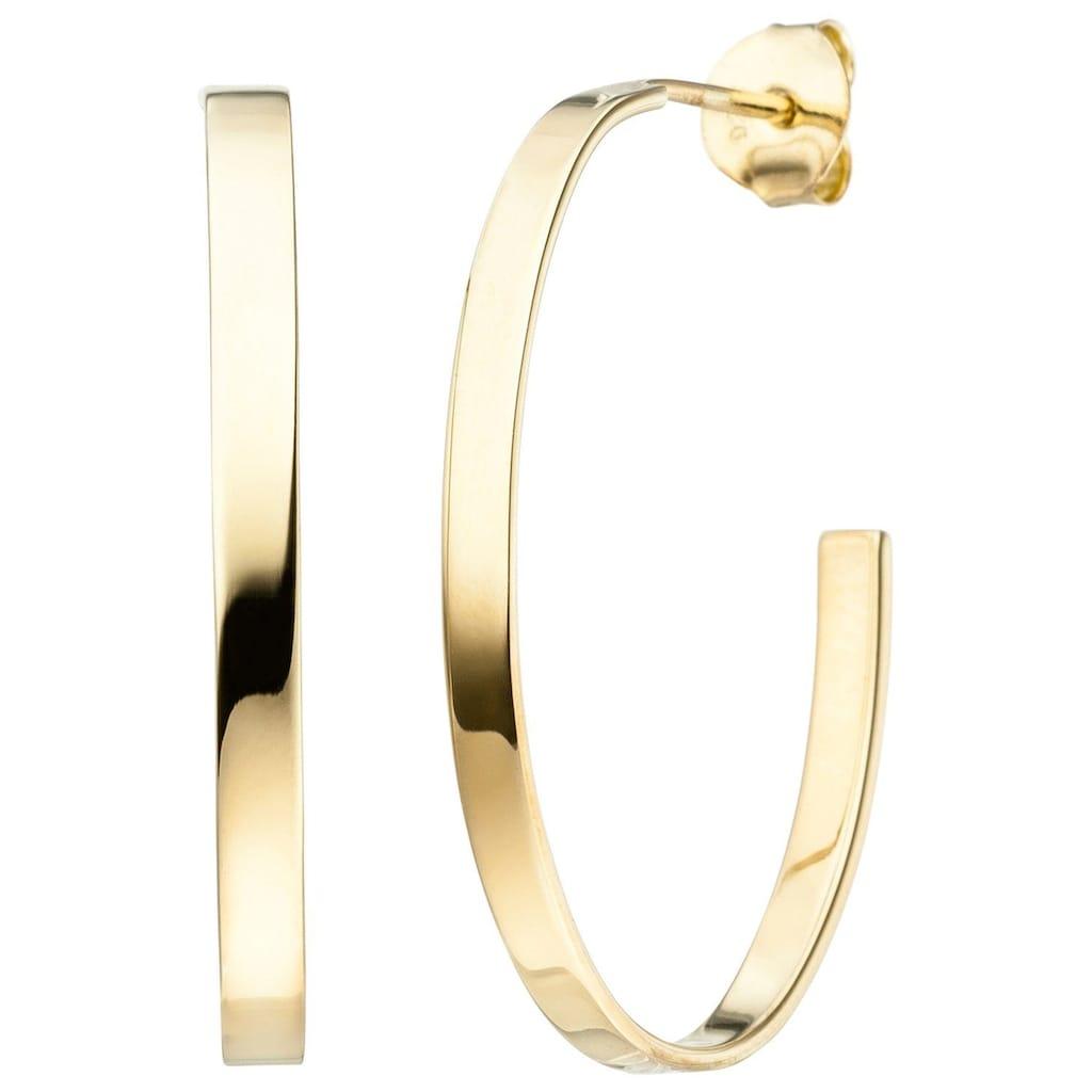 JOBO Paar Creolen, oval 925 Silber vergoldet