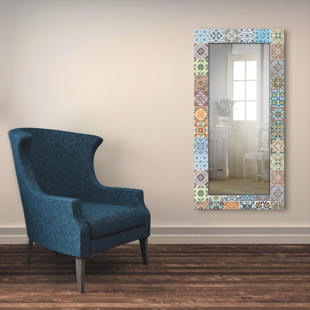 Artland Wandspiegel »Gemusterte Keramikfliesen«, gerahmter Ganzkörperspiegel mit Motivrahmen, geeignet für kleinen, schmalen Flur, Flurspiegel, Mirror Spiegel gerahmt zum Aufhängen