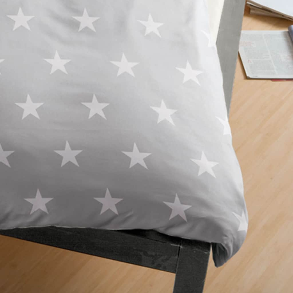 BETTWARENSHOP Bettwäsche »Stars silber«, warme weiche Winterbettwäsche