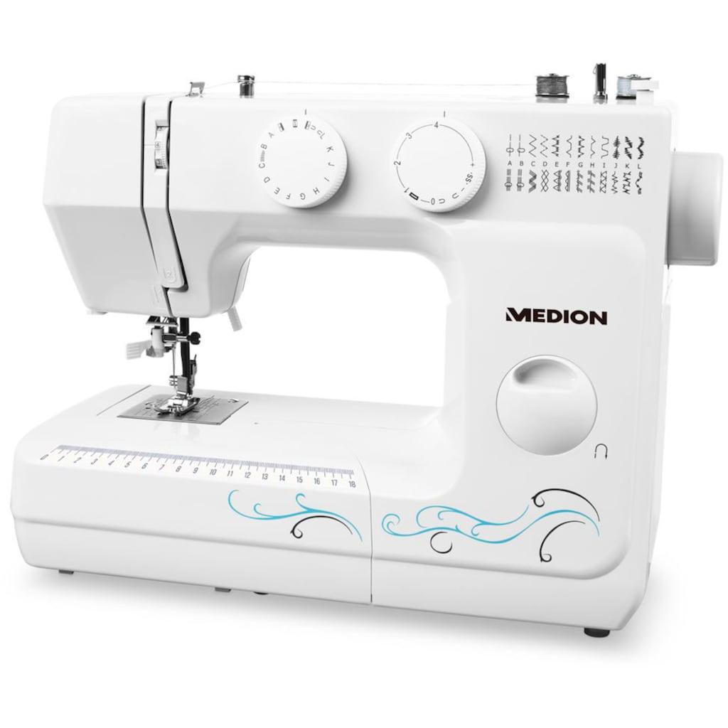Medion® Freiarm-Nähmaschine »MD 18205«, Knopfloch- und Einfädelautomatik