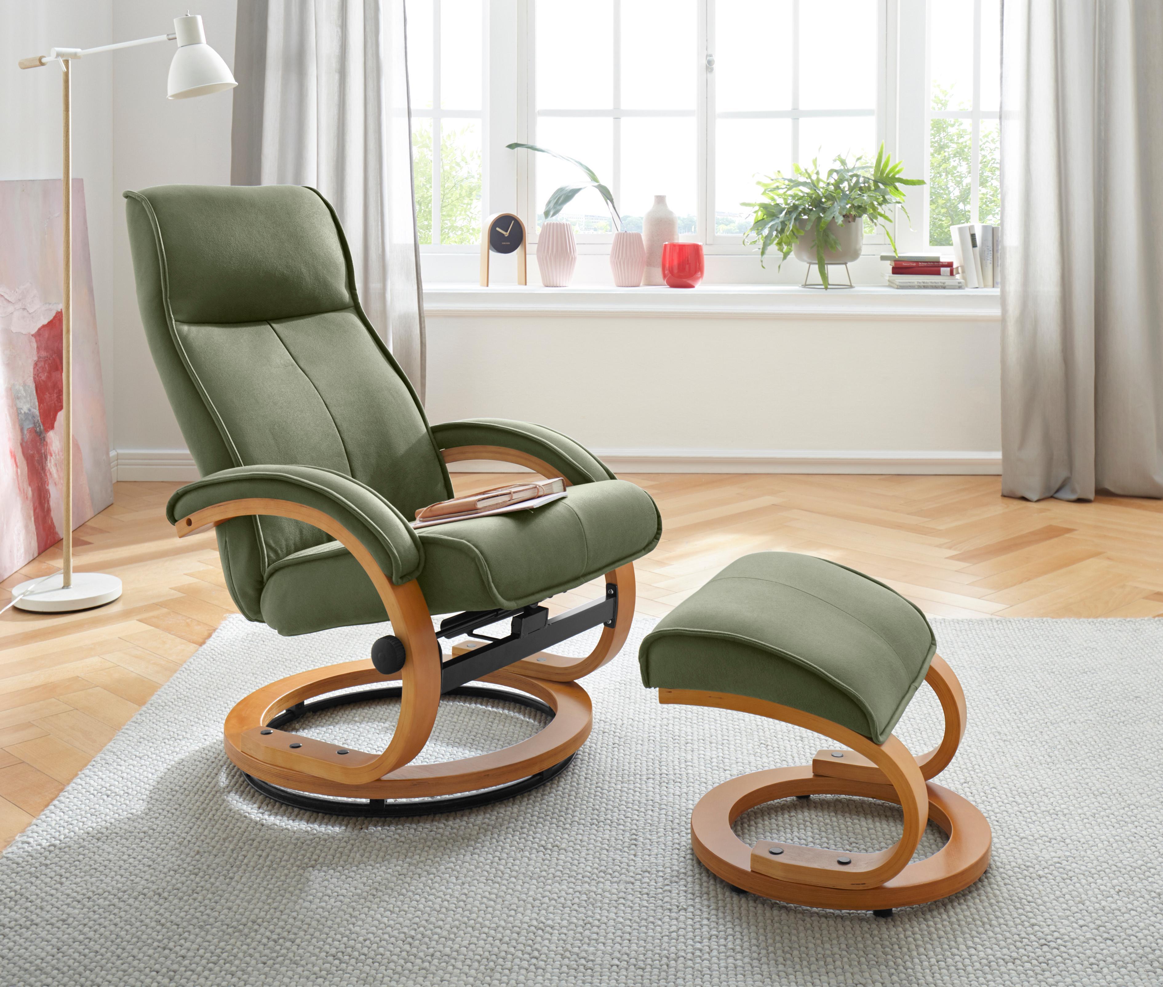 my home Relaxsessel & Hocker Lille aus weichem Luxus-Microfaser Bezug und schönem Holzgestell Sitzhöhe 46 cm