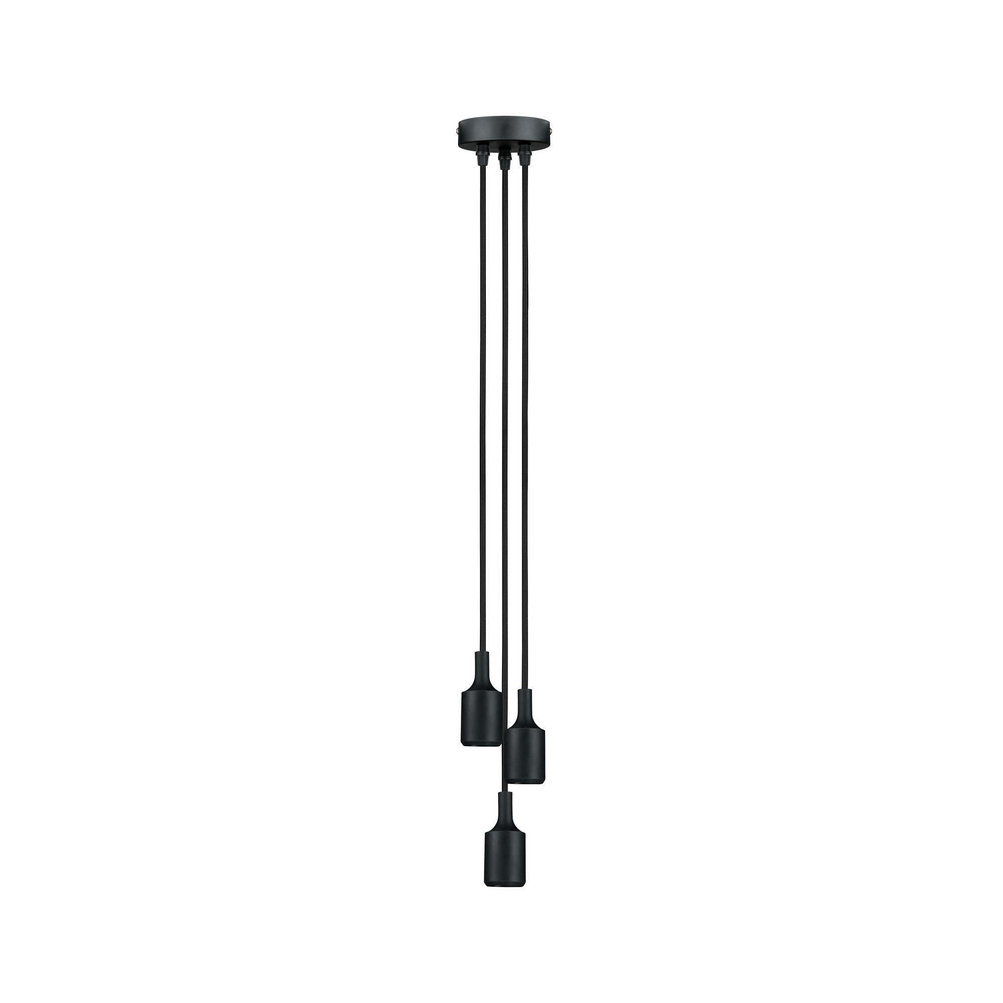 Paulmann,LED Pendelleuchte 3-fach mit E27-Fassung und Stoffkabel Schwarz max. 20W E27