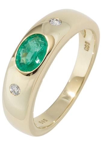 JOBO Diamantring, 585 Gold mit Smaragd und 2 Diamanten kaufen