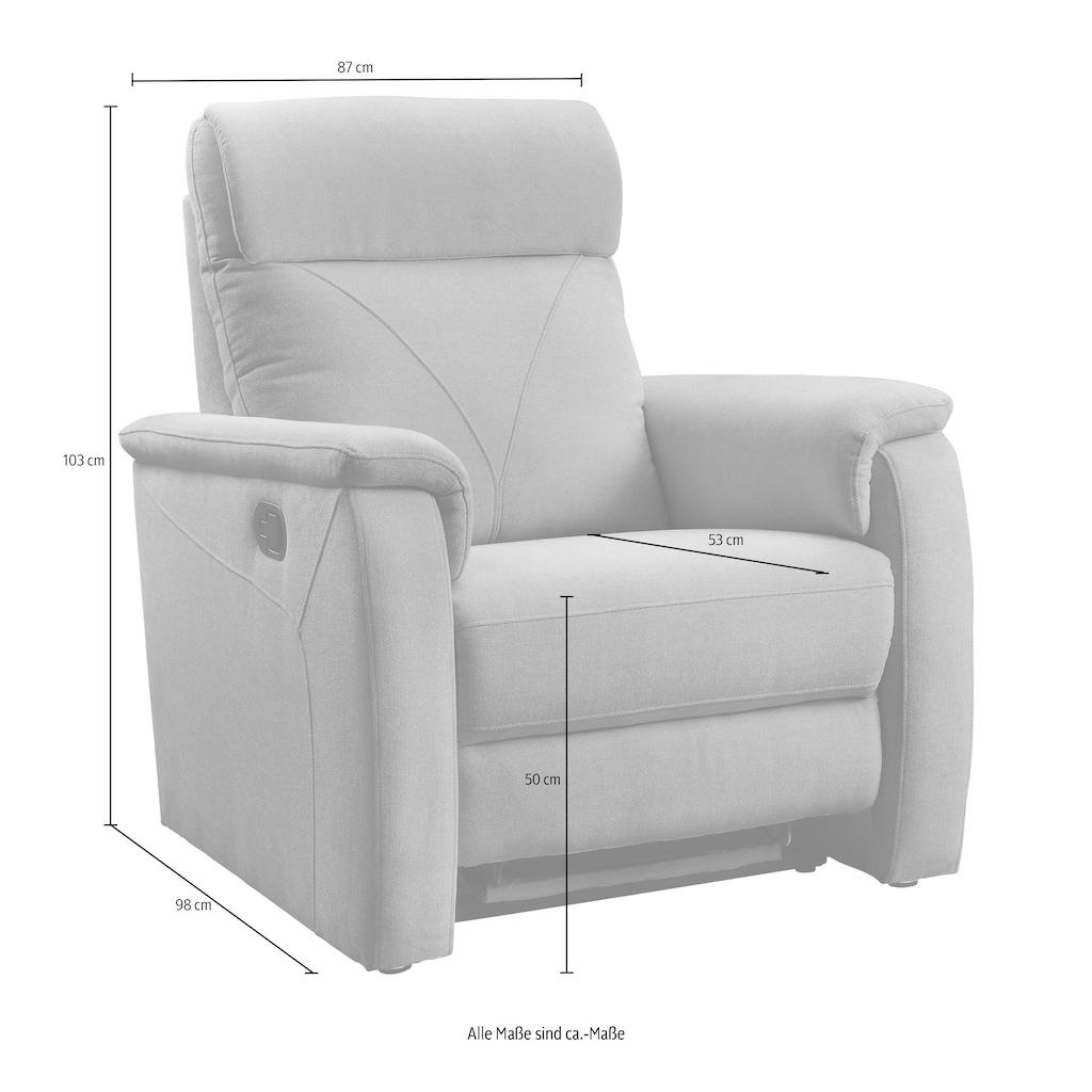 ATLANTIC home collection Relaxsessel »Stefan«, mit Relaxfunktion, Taschenfederkern und eleganten Ziernähten