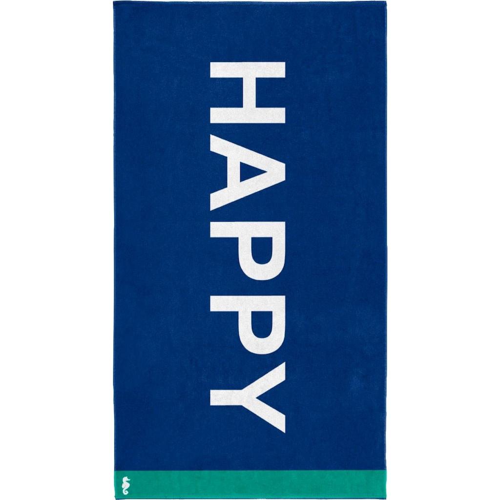 Seahorse Strandtuch »Happy«, (1 St.), mit Schriftzug