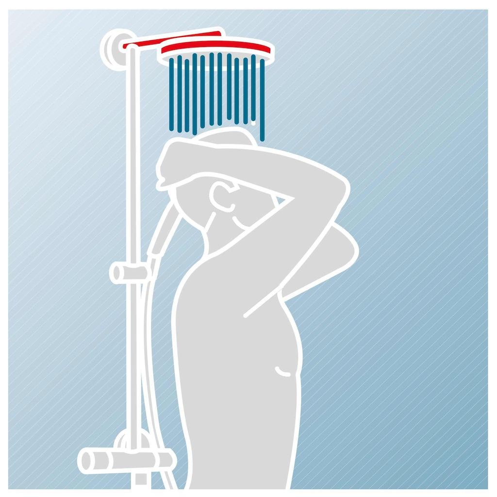 Schulte Duschsystem »EP DuschMa Cl Ther Kopfb ecki«, mit Thermostat, Tiefe: 41,9-43,4, Antikalk-Noppen