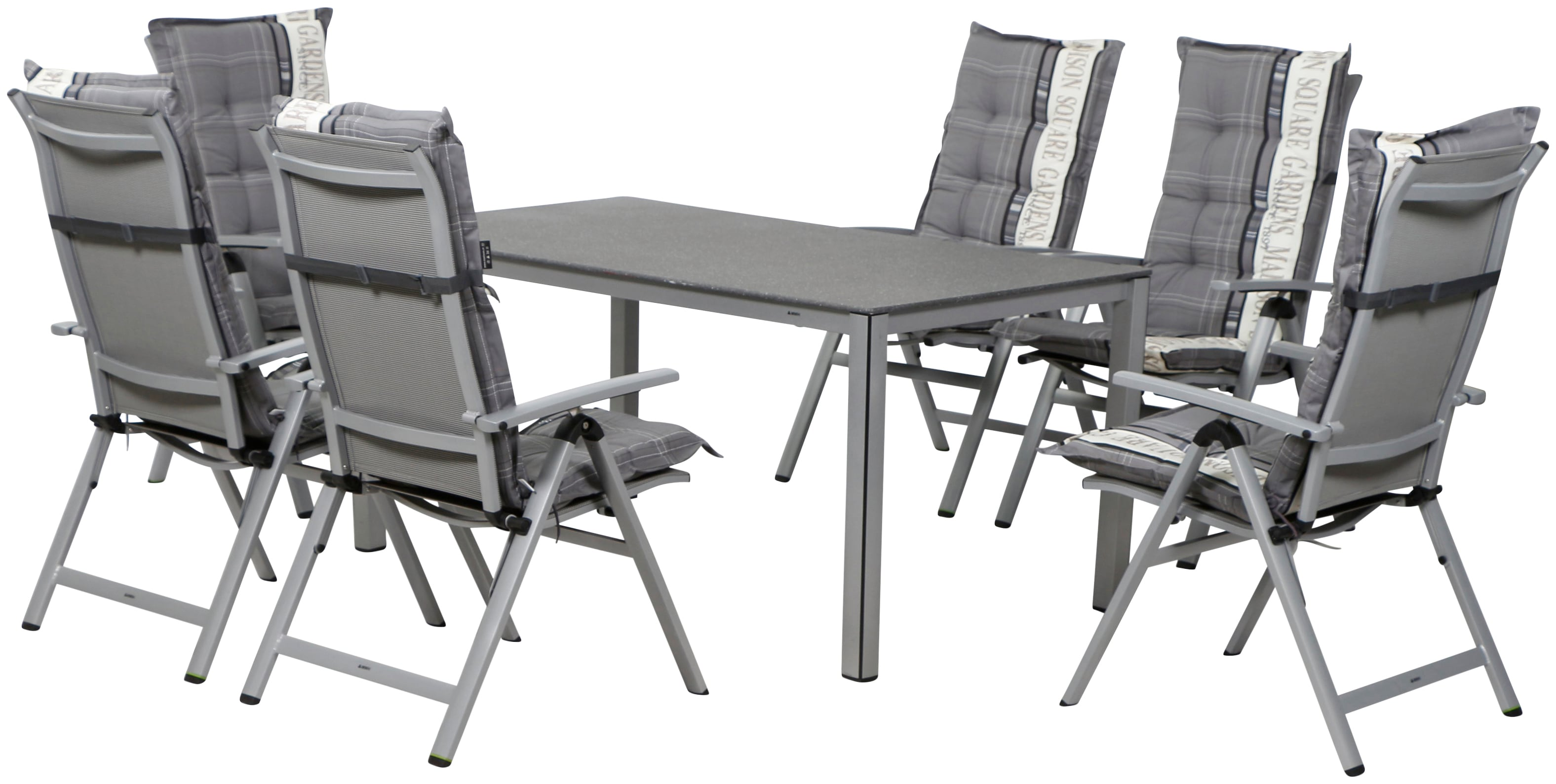 MWH Gartenmöbelset Fabulo 13tlg 6 Sessel Tisch 160x90 cm inkl Auflagen Aluminium