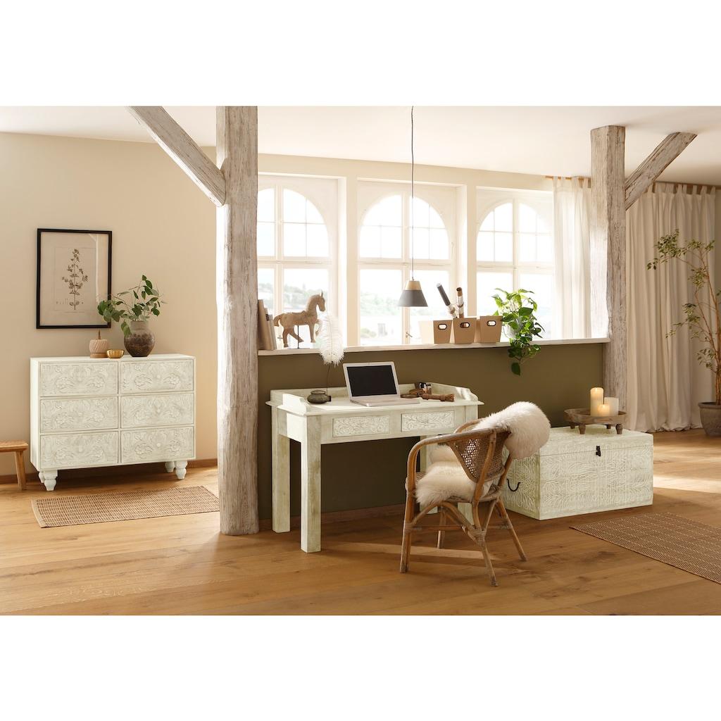 Home affaire Truhentisch »Lavin«, aus massiven, pflegeleichten Mangoholz, mit dekorativen Schnitzereien, Handgefertigt, Breite 90 cm