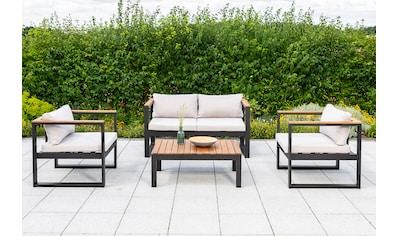 MERXX Loungeset »Mykonos«, 12 - tlg., 2 Sessel, 2er Bank, Tisch 90x60 cm, Akazie/Alu kaufen